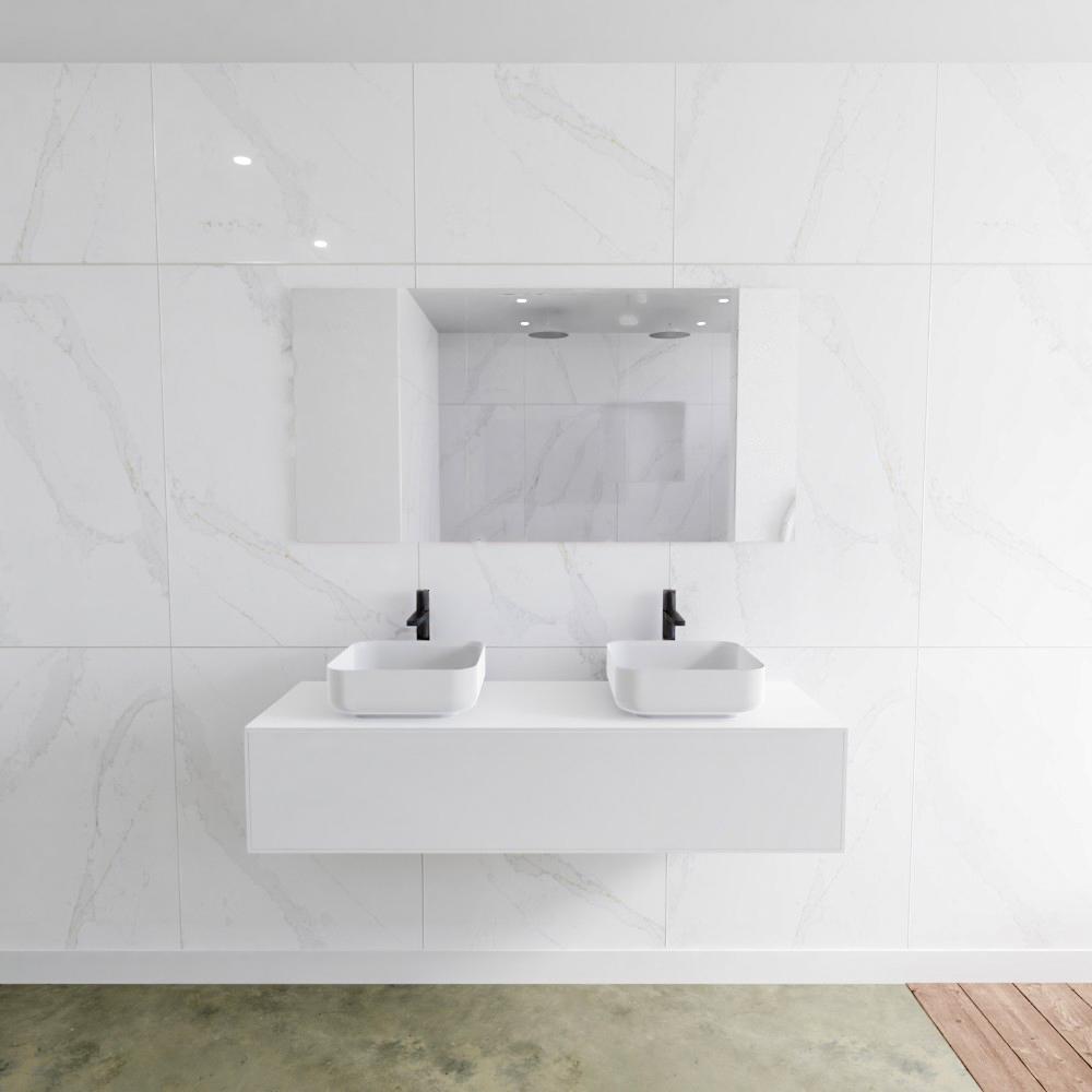 Zaro Lagom volledig naadloos solid surface onderkast met topblad 140cm mat wit met 1 lades Push tot