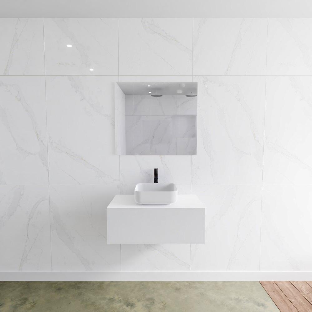 Zaro Lagom volledig naadloos solid surface onderkast met topblad 80cm mat wit met 1 lades Push tot o