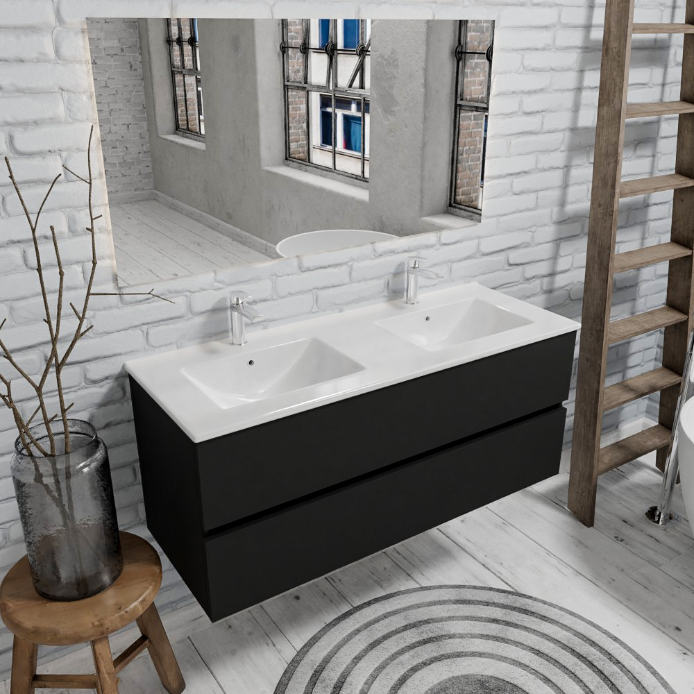 Zaro Malaga badkamermeubel 120cm mat zwart 2 kraangaten met 2 lades