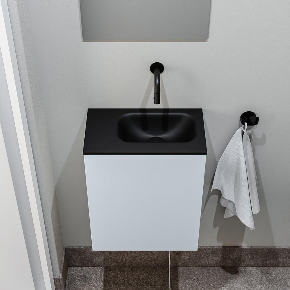 Productafbeelding van Zaro Polly toiletmeubel 40cm clay met zwarte wastafel zonder kraangat rechts