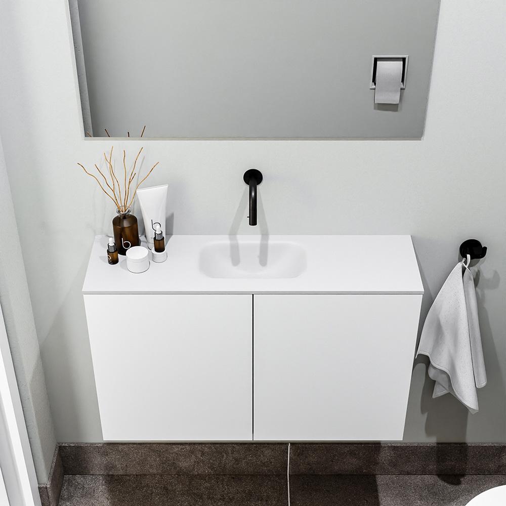 Productafbeelding van Zaro Polly toiletmeubel 80cm mat wit met witte wastafel zonder kraangat