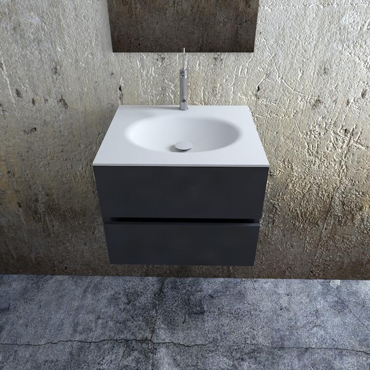 Zaro Sevilla Solid Surface badkamermeubel 60cm mat antraciet 1 kraangat