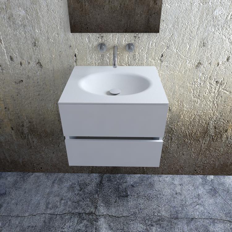 Zaro Sevilla Solid Surface badkamermeubel 60cm mat wit zonder kraangat