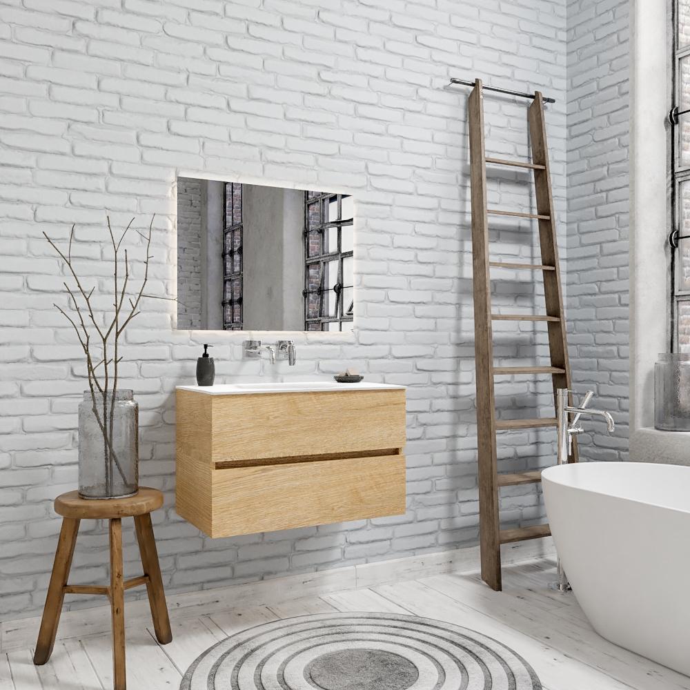 Zaro Sevilla Solid Surface badkamermeubel 80cm licht eiken zonder kraangat met 2 lades
