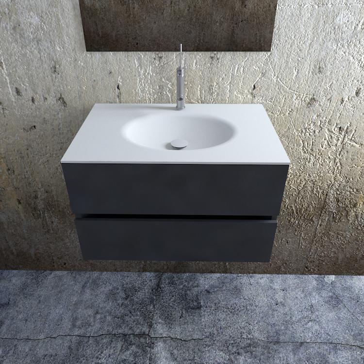 Zaro Sevilla Solid Surface badkamermeubel 80cm mat antraciet 1 kraangat