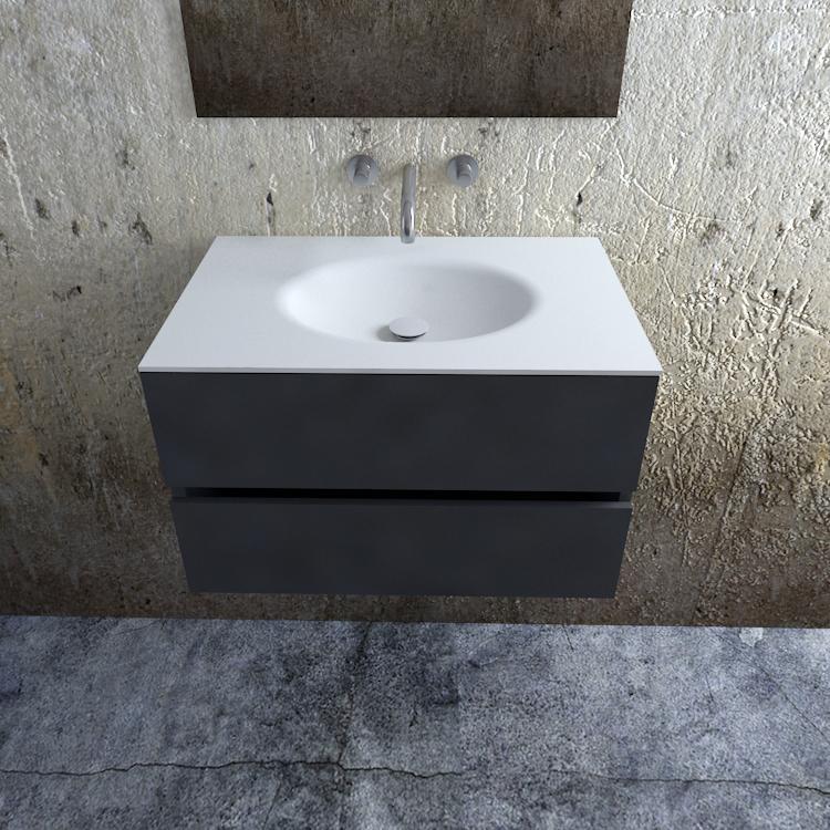 Zaro Sevilla Solid Surface badkamermeubel 80cm mat antraciet zonder kraangat