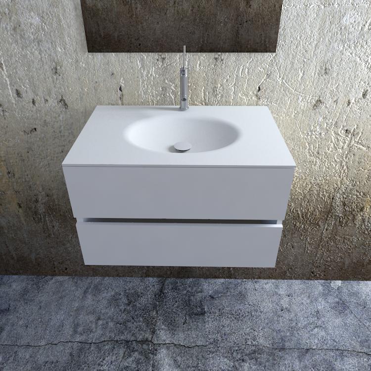 Zaro Sevilla Solid Surface badkamermeubel 80cm mat wit 1 kraangat