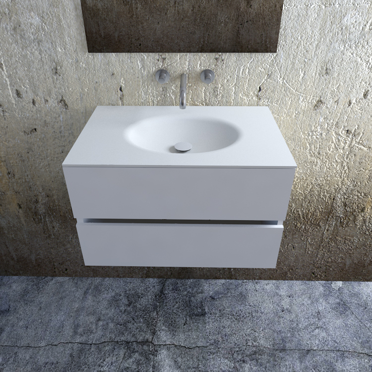 Zaro Sevilla Solid Surface badkamermeubel 80cm mat wit zonder kraangat