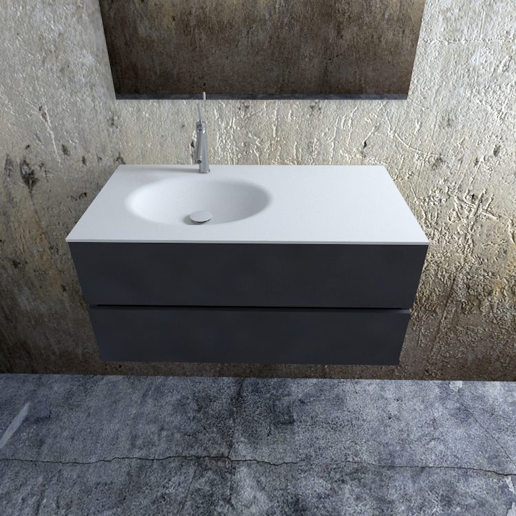 Zaro Sevilla Solid Surface badmeubel 100cm mat antraciet 1 kraangat spoelbak links