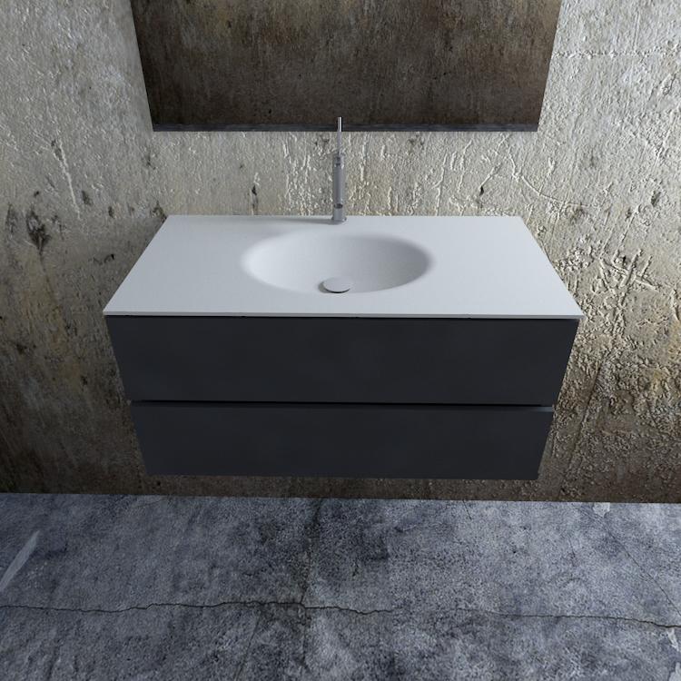 Zaro Sevilla Solid Surface badmeubel 100cm mat antraciet 1 kraangat spoelbak midden