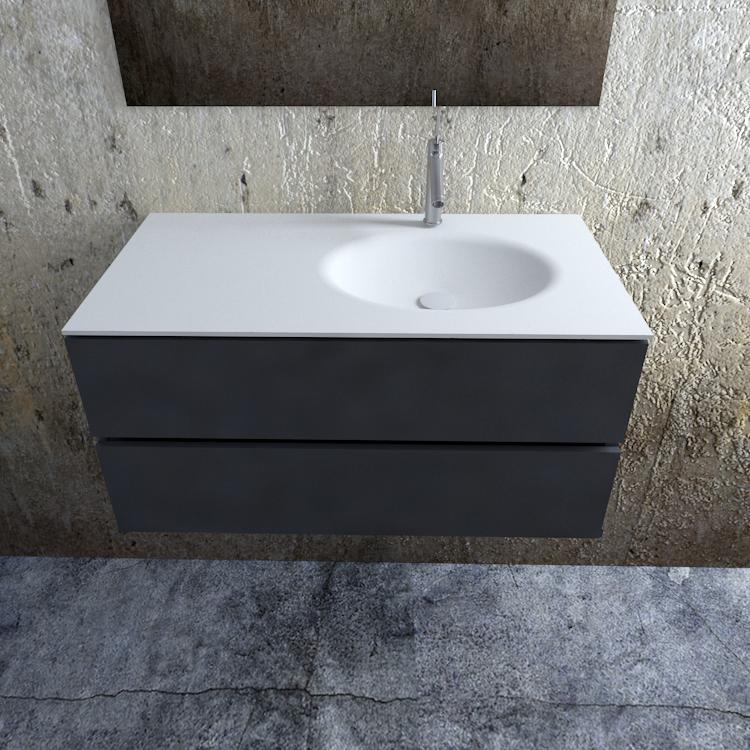 Zaro Sevilla Solid Surface badmeubel 100cm mat antraciet 1 kraangat spoelbak rechts