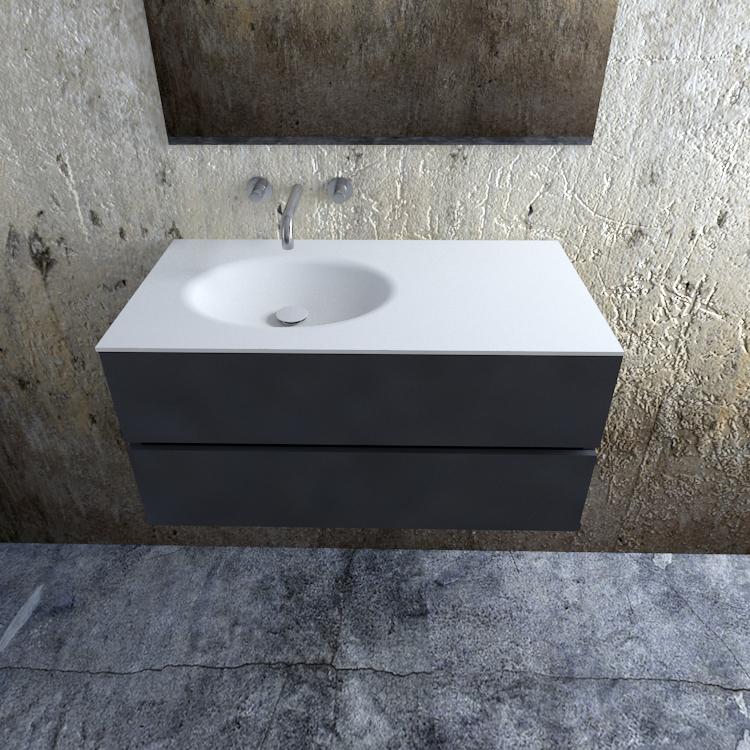 Zaro Sevilla Solid Surface badmeubel 100cm mat antraciet zonder kraangat spoelbak links