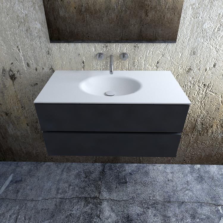 Zaro Sevilla Solid Surface badmeubel 100cm mat antraciet zonder kraangat spoelbak midden