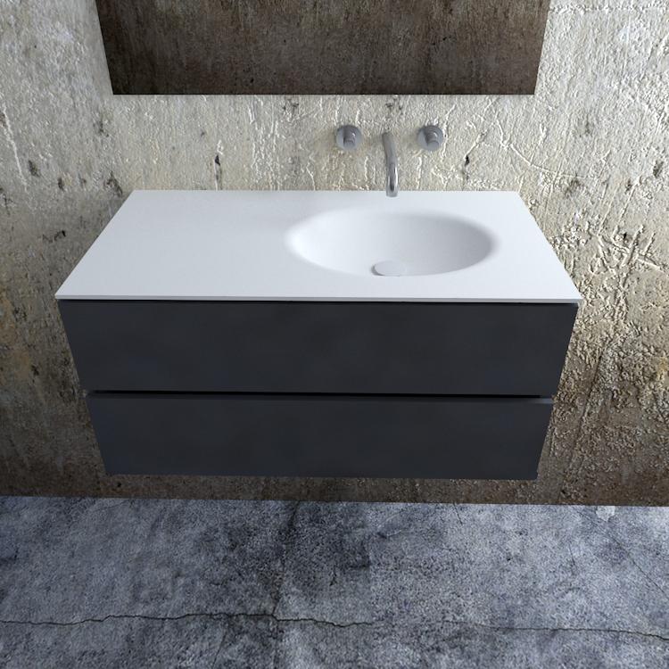 Zaro Sevilla Solid Surface badmeubel 100cm mat antraciet zonder kraangat spoelbak rechts