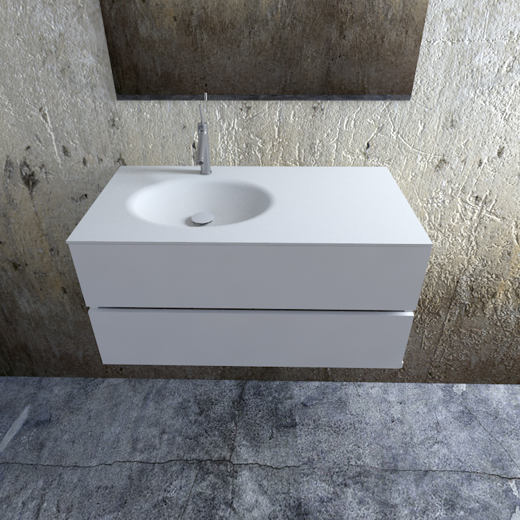 Zaro Sevilla Solid Surface badmeubel 100cm mat wit 1 kraangat spoelbak links