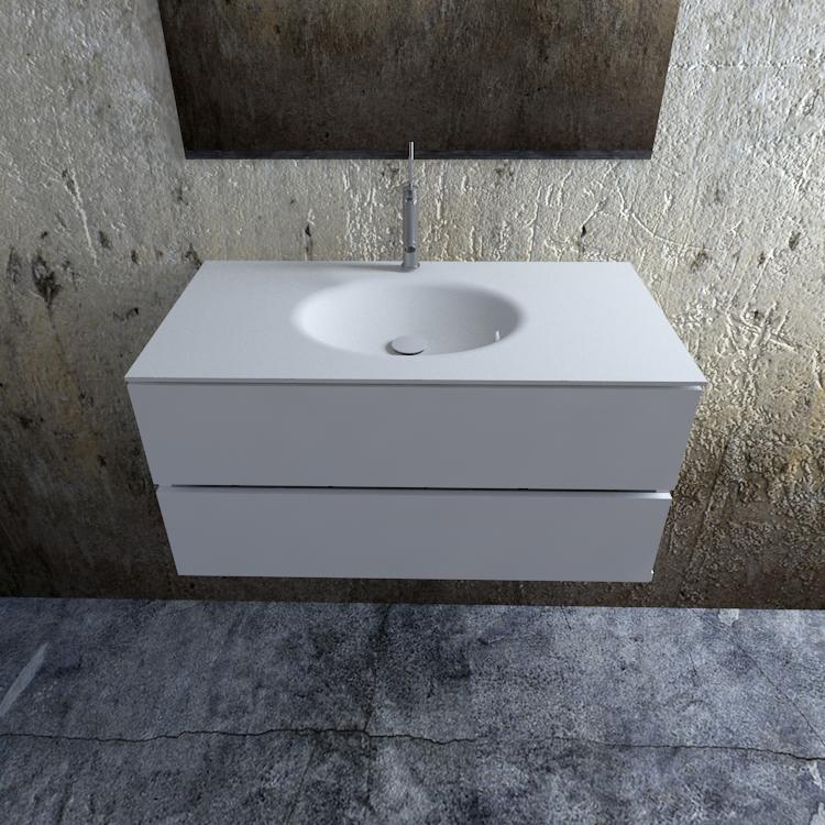 Zaro Sevilla Solid Surface badmeubel 100cm mat wit 1 kraangat spoelbak midden
