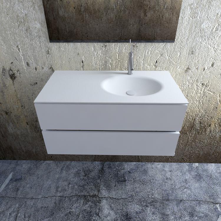 Zaro Sevilla Solid Surface badmeubel 100cm mat wit 1 kraangat spoelbak rechts