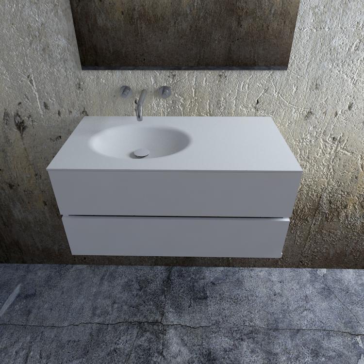 Zaro Sevilla Solid Surface badmeubel 100cm mat wit zonder kraangat spoelbak links