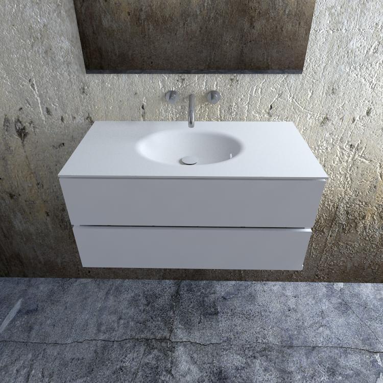 Zaro Sevilla Solid Surface badmeubel 100cm mat wit zonder kraangat spoelbak midden