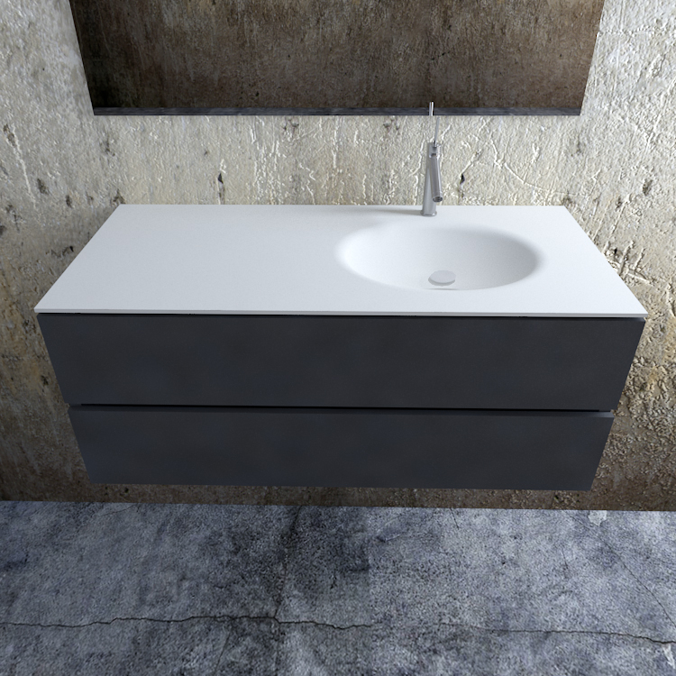 Zaro Sevilla Solid Surface badmeubel 120cm mat antraciet 1 kraangat spoelbak rechts