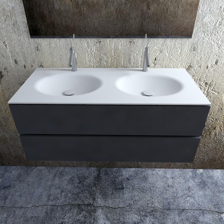 Zaro Sevilla Solid Surface badmeubel 120cm mat antraciet 2 kraangaten dubbele spoelbak