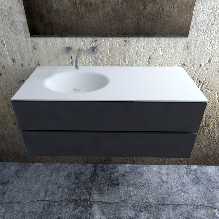 Zaro Sevilla Solid Surface badmeubel 120cm mat antraciet zonder kraangat spoelbak links