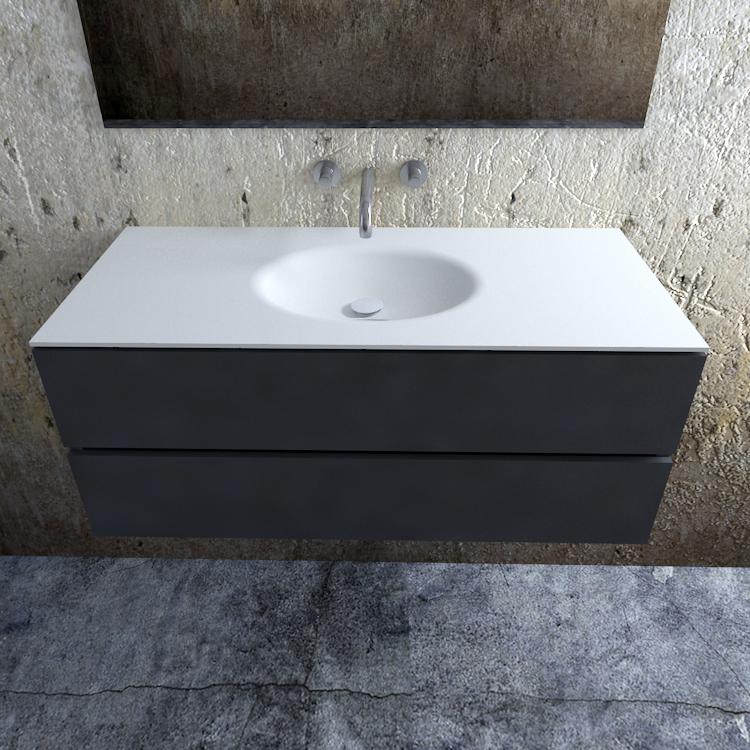 Zaro Sevilla Solid Surface badmeubel 120cm mat antraciet zonder kraangat spoelbak midden