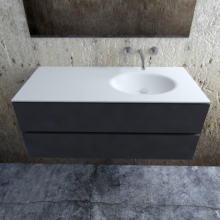 Zaro Sevilla Solid Surface badmeubel 120cm mat antraciet zonder kraangat spoelbak rechts
