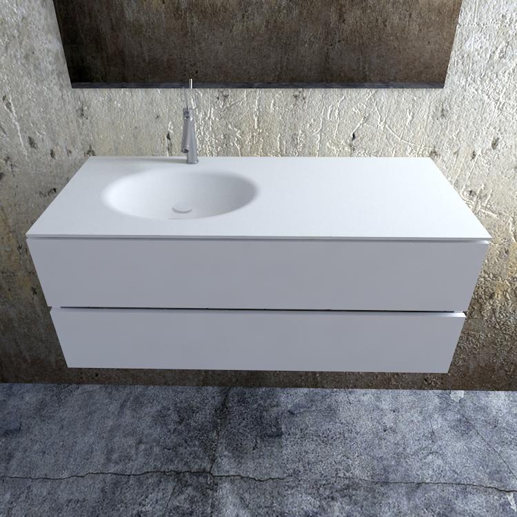 Zaro Sevilla Solid Surface badmeubel 120cm mat wit 1 kraangat spoelbak links