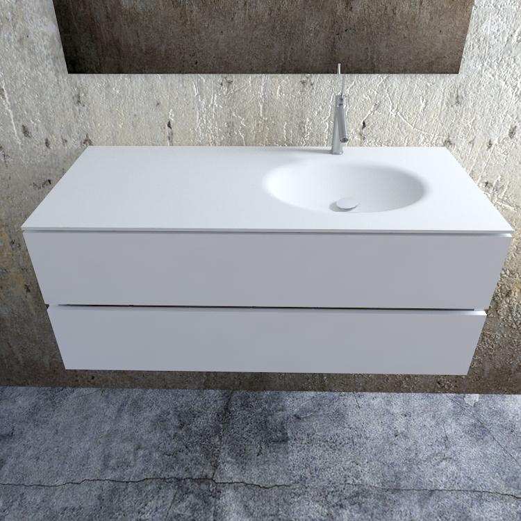 Zaro Sevilla Solid Surface badmeubel 120cm mat wit 1 kraangat spoelbak rechts
