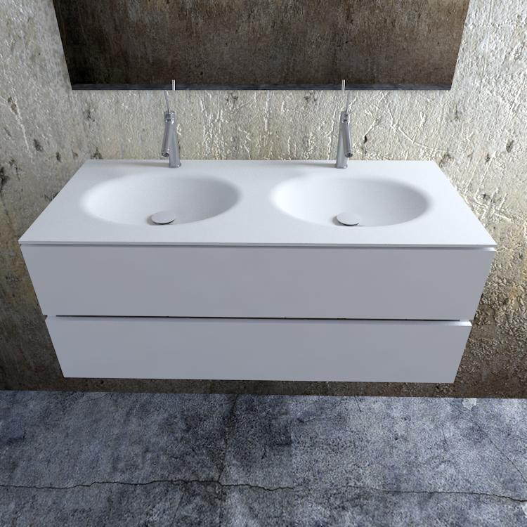 Zaro Sevilla Solid Surface badmeubel 120cm mat wit 2 kraangaten dubbele spoelbak