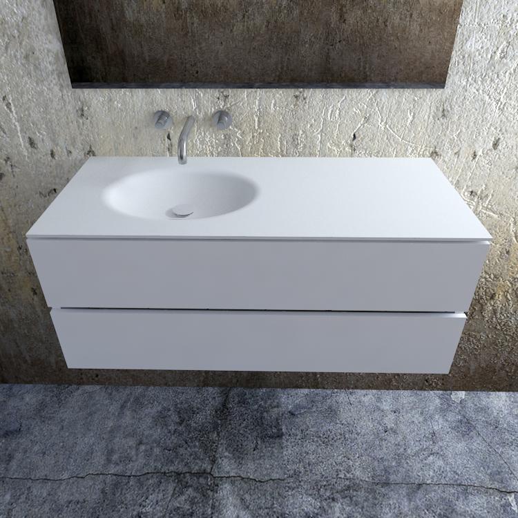 Zaro Sevilla Solid Surface badmeubel 120cm mat wit zonder kraangat spoelbak links
