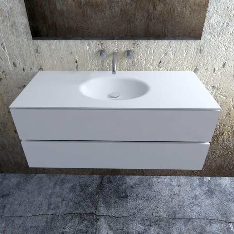 Zaro Sevilla Solid Surface badmeubel 120cm mat wit zonder kraangat spoelbak midden