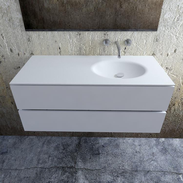 Zaro Sevilla Solid Surface badmeubel 120cm mat wit zonder kraangat spoelbak rechts