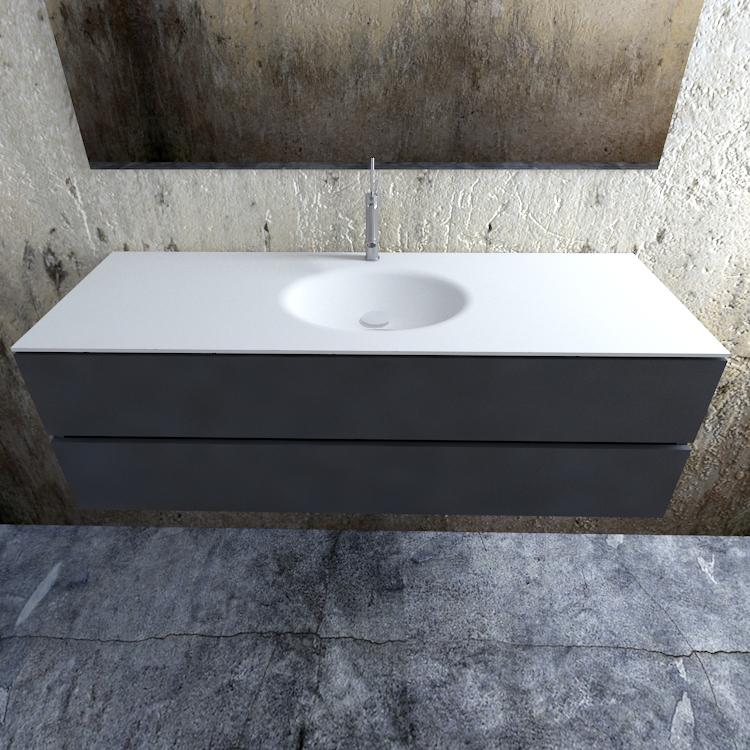 Zaro Sevilla Solid Surface badmeubel 150cm mat antraciet 1 kraangat spoelbak midden