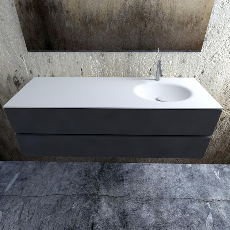 Zaro Sevilla Solid Surface badmeubel 150cm mat antraciet 1 kraangat spoelbak rechts
