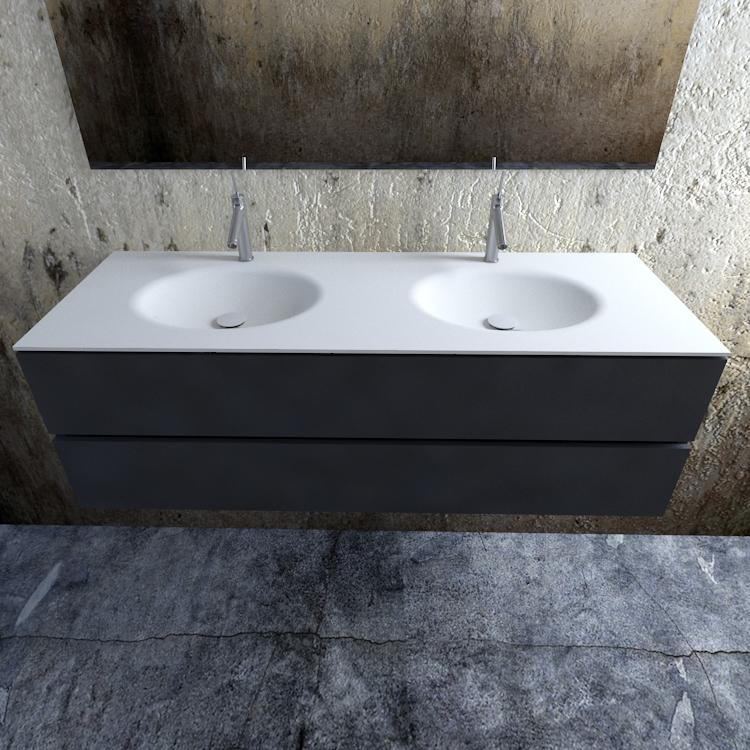 Zaro Sevilla Solid Surface badmeubel 150cm mat antraciet 2 kraangaten dubbele spoelbak