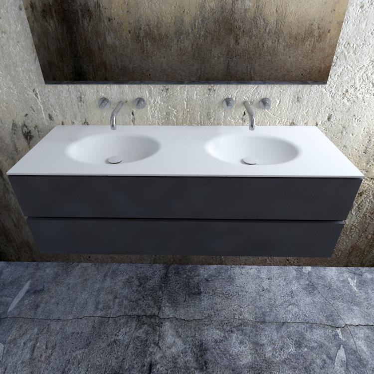Zaro Sevilla Solid Surface badmeubel 150cm mat antraciet zonder kraangat dubbele spoelbak