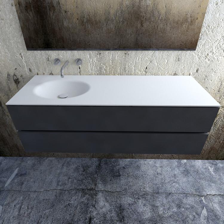 Zaro Sevilla Solid Surface badmeubel 150cm mat antraciet zonder kraangat spoelbak links