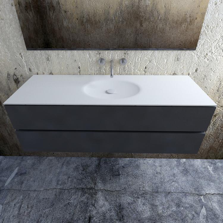 Zaro Sevilla Solid Surface badmeubel 150cm mat antraciet zonder kraangat spoelbak midden