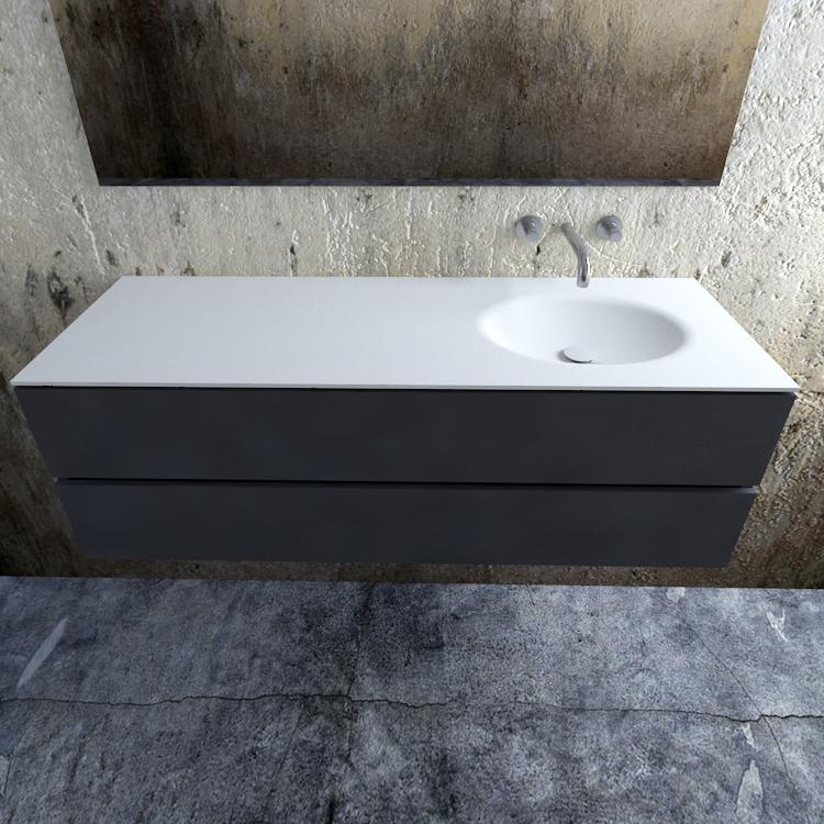 Zaro Sevilla Solid Surface badmeubel 150cm mat antraciet zonder kraangat spoelbak rechts