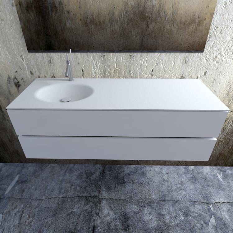 Zaro Sevilla Solid Surface badmeubel 150cm mat wit 1 kraangat spoelbak links