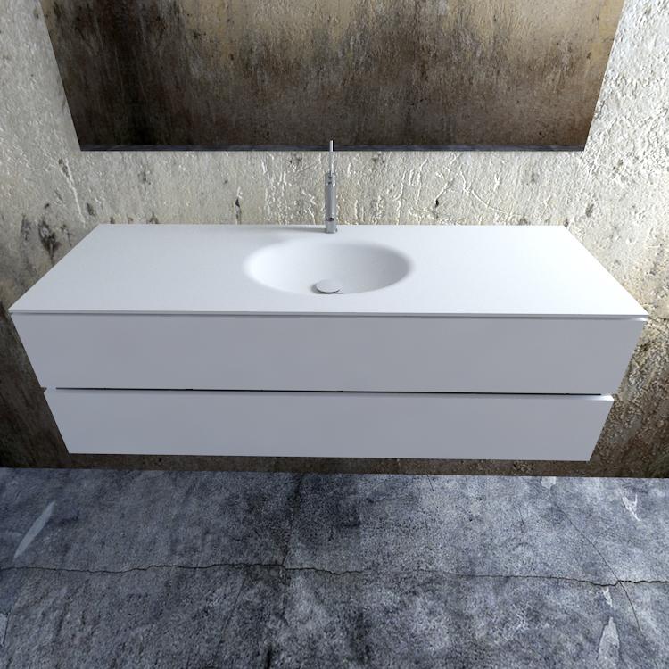 Zaro Sevilla Solid Surface badmeubel 150cm mat wit 1 kraangat spoelbak midden