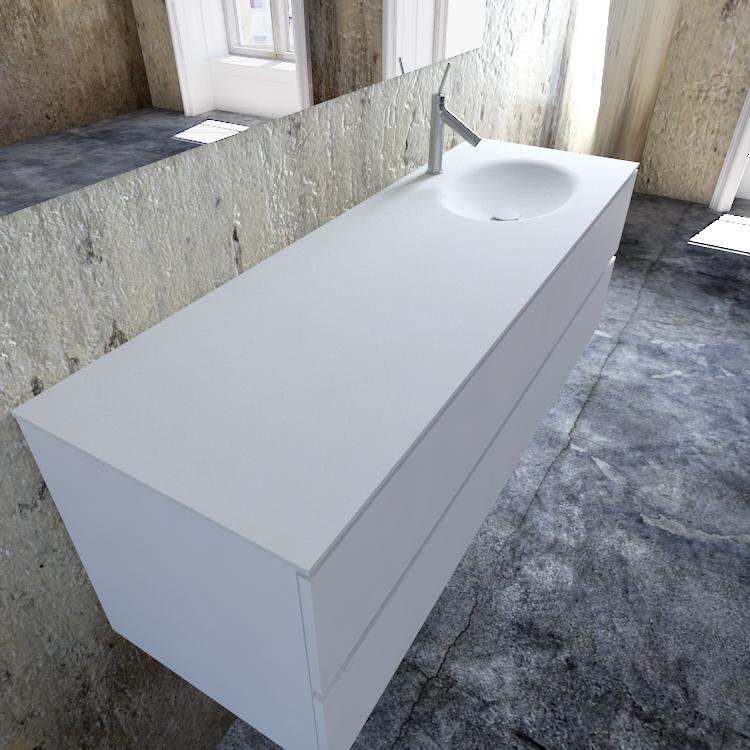 Zaro Sevilla Solid Surface badmeubel 150cm mat wit 1 kraangat spoelbak rechts