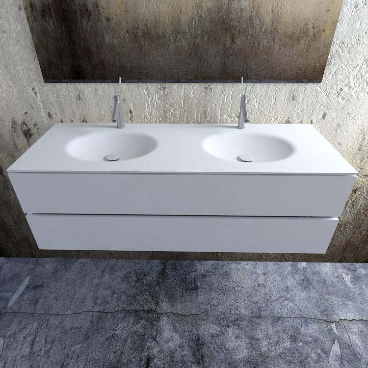 Zaro Sevilla Solid Surface badmeubel 150cm mat wit 2 kraangaten dubbele spoelbak