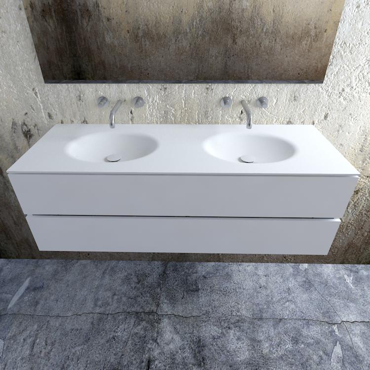 Zaro Sevilla Solid Surface badmeubel 150cm mat wit zonder kraangat dubbele spoelbak