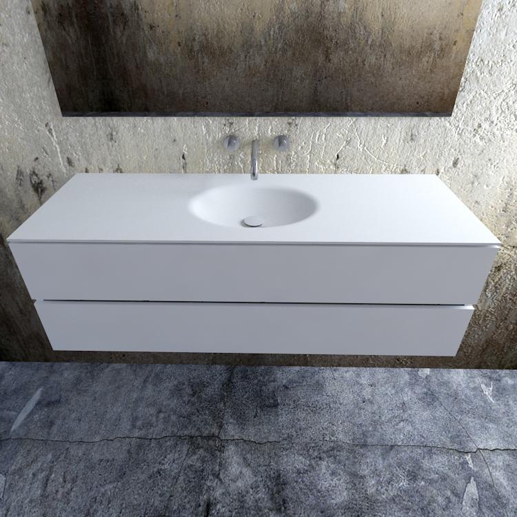 Zaro Sevilla Solid Surface badmeubel 150cm mat wit zonder kraangat spoelbak midden
