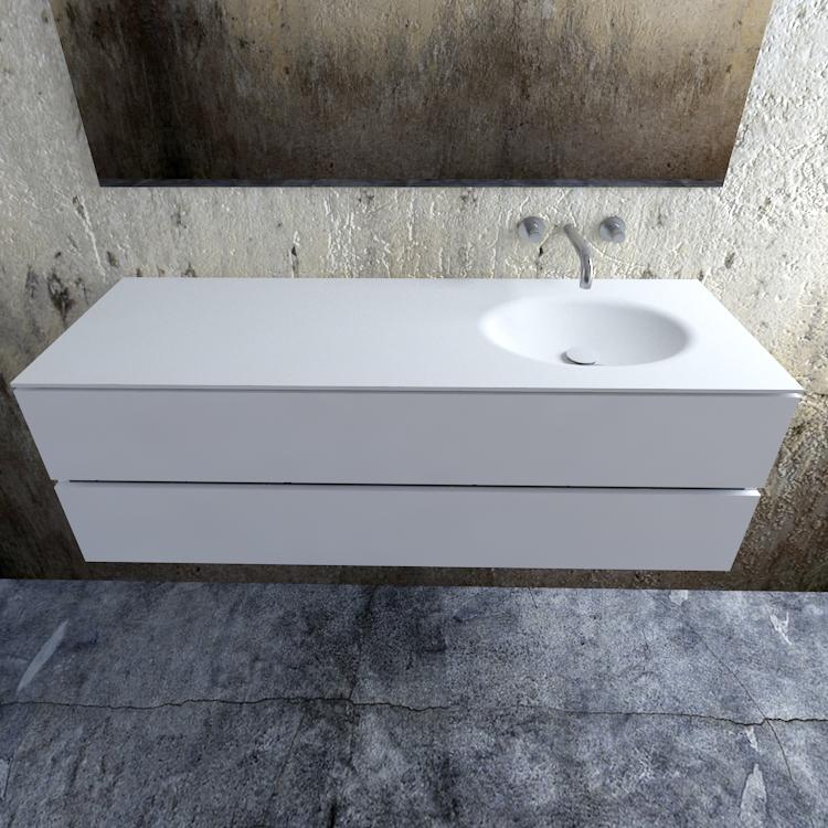 Zaro Sevilla Solid Surface badmeubel 150cm mat wit zonder kraangat spoelbak rechts