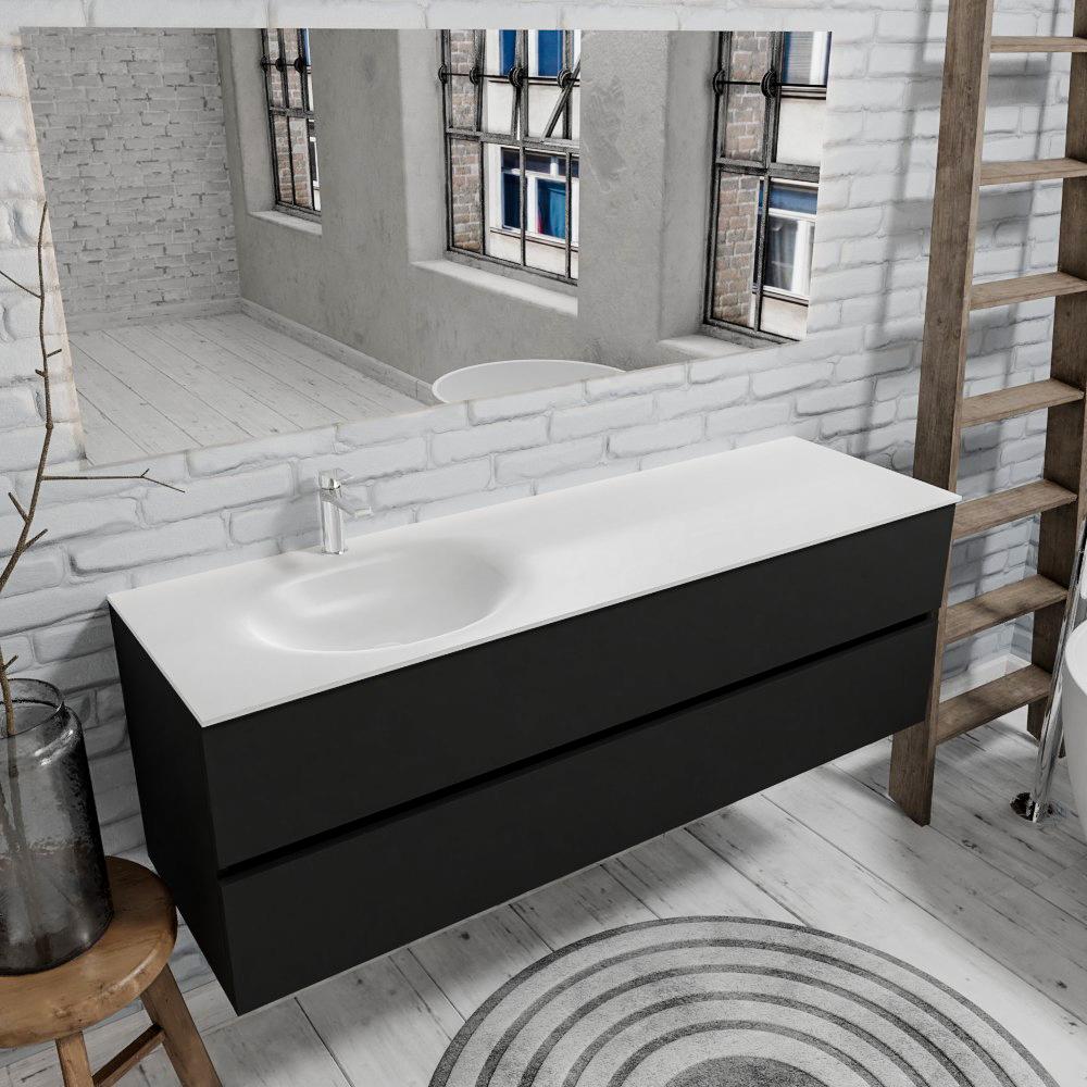 Zaro Sevilla Solid Surface badmeubel 150cm mat zwart 1 kraangat met 2 lades spoelbak links