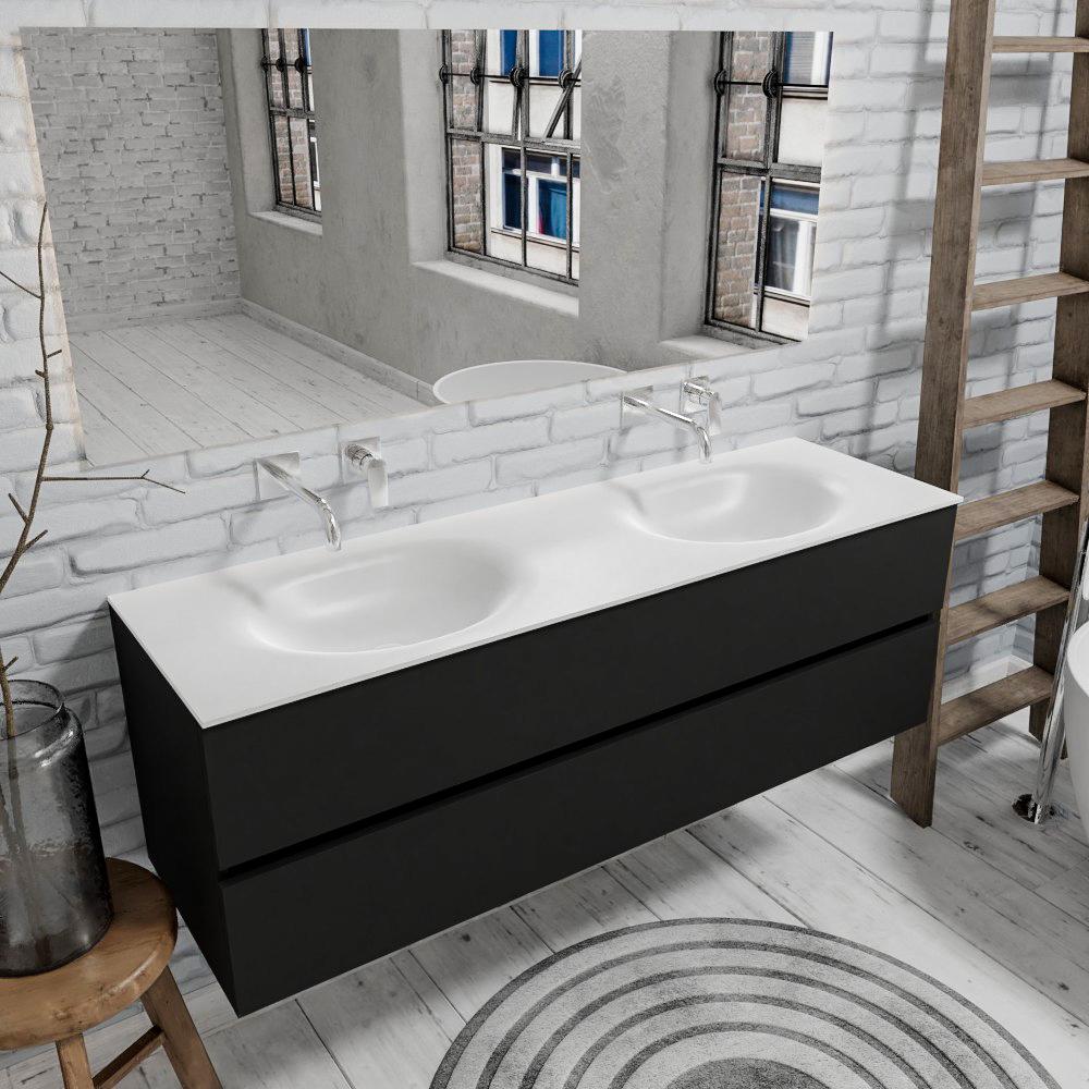 Zaro Sevilla Solid Surface badmeubel 150cm mat zwart geen kraangat met 2 lades dubbele spoelbak